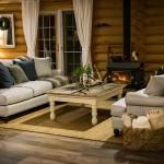 Living room at log accommodation in Golden, B.C.