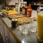 Breakfast buffet at log accommodation in Golden BC
