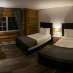 Twin room at a log lodge in Golden BC